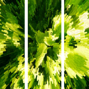 Electric Lettuce Triptych Canvas Art Print
