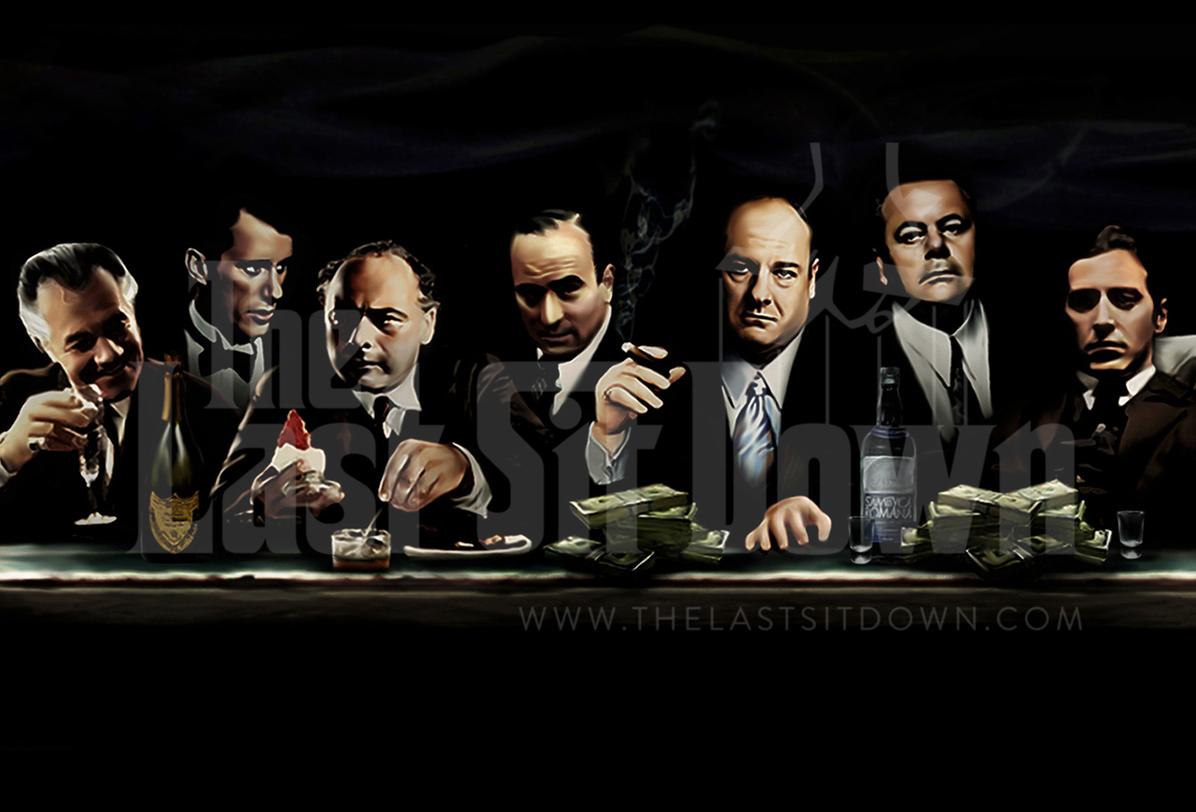 The Last Sit Down, Mafia Canvas Art Print by LJA Canvas ArtGangsta Artwork