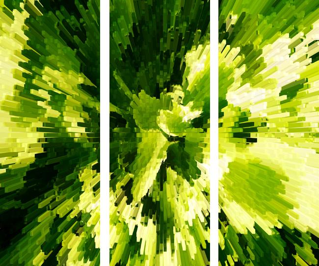 Electric Lettuce Triptych Canvas Art Print