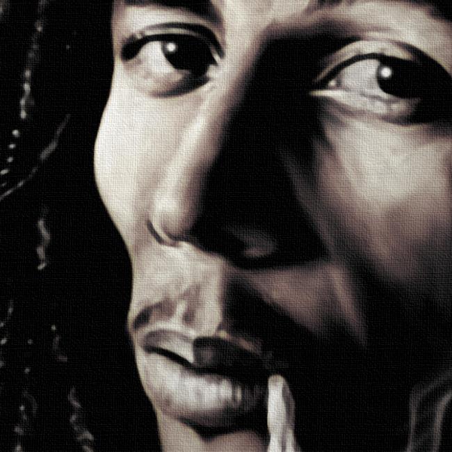 Bob Marley Canvas Art Print Detail