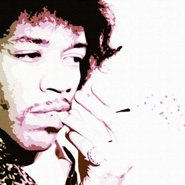 Jimi Hendrix Canvas Art Print Detail